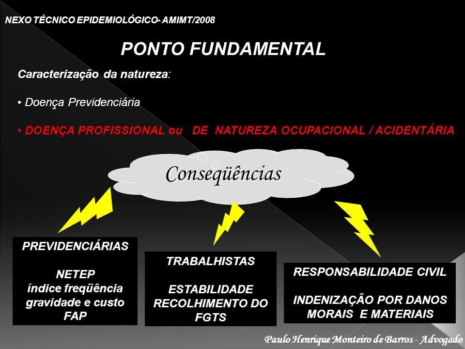 Conseqüências PONTO FUNDAMENTAL Caracterização da natureza: