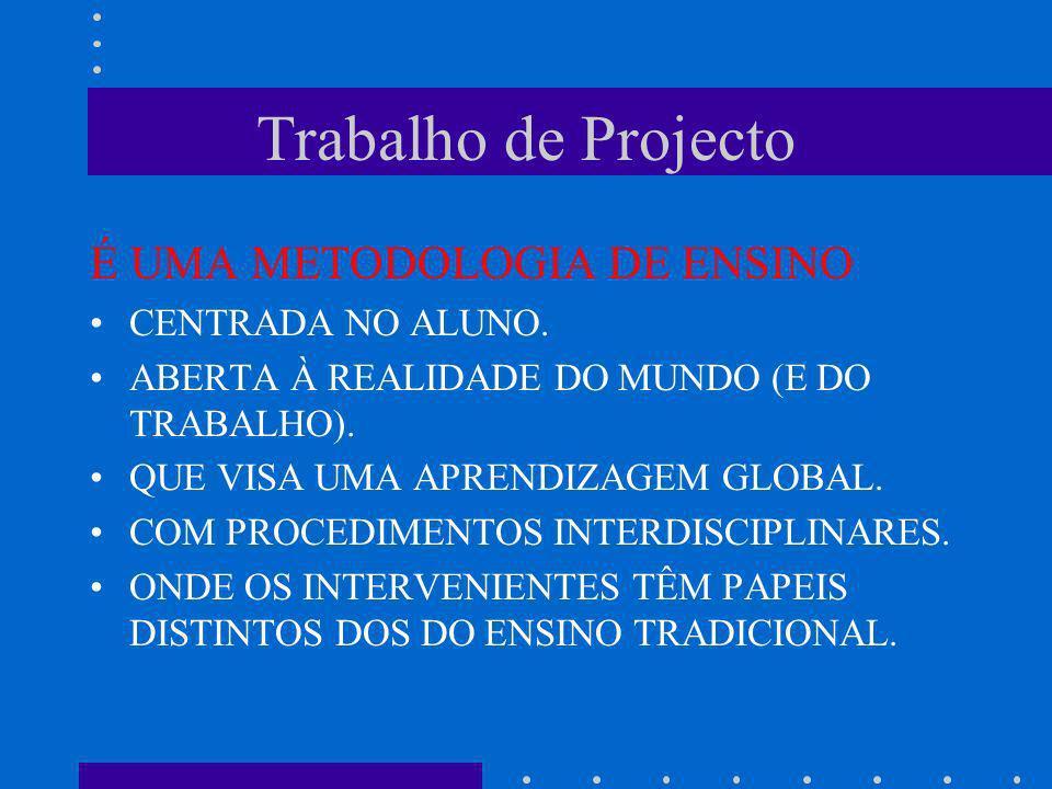 Trabalho de Projecto É UMA METODOLOGIA DE ENSINO CENTRADA NO ALUNO.