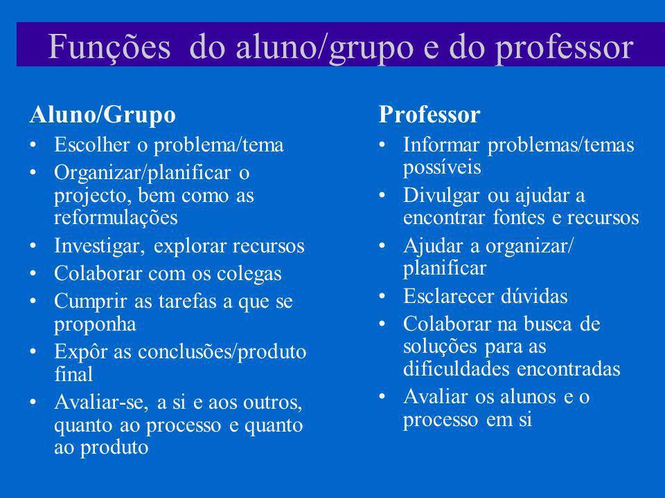 Funções do aluno/grupo e do professor