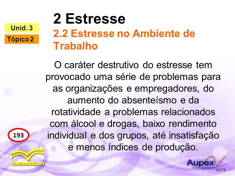 2 Estresse 2.2 Estresse no Ambiente de Trabalho