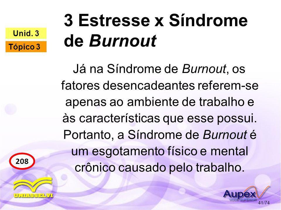 3 Estresse x Síndrome de Burnout