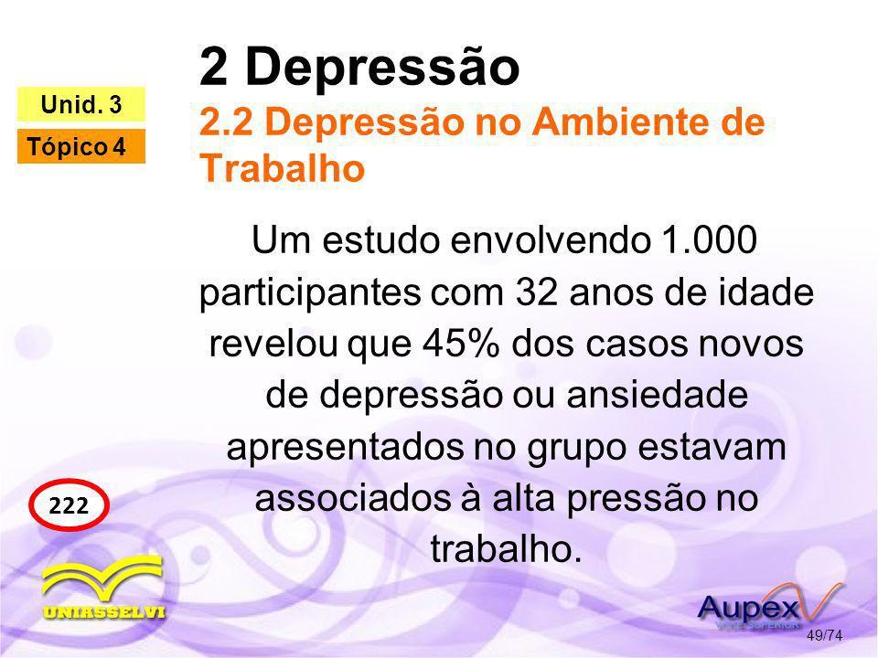 2 Depressão 2.2 Depressão no Ambiente de Trabalho