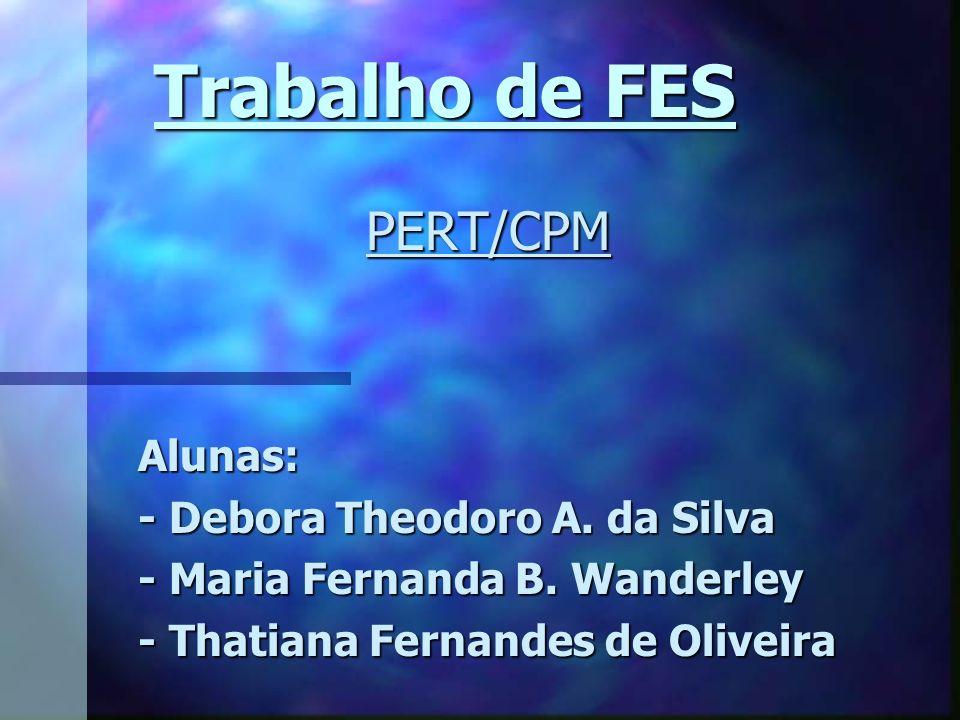 Trabalho de FES PERT/CPM Alunas: - Debora Theodoro A. da Silva