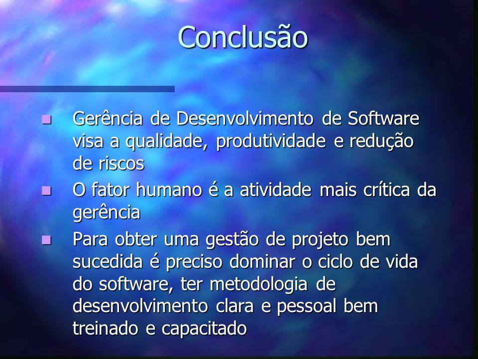 Conclusão Gerência de Desenvolvimento de Software visa a qualidade, produtividade e redução de riscos.