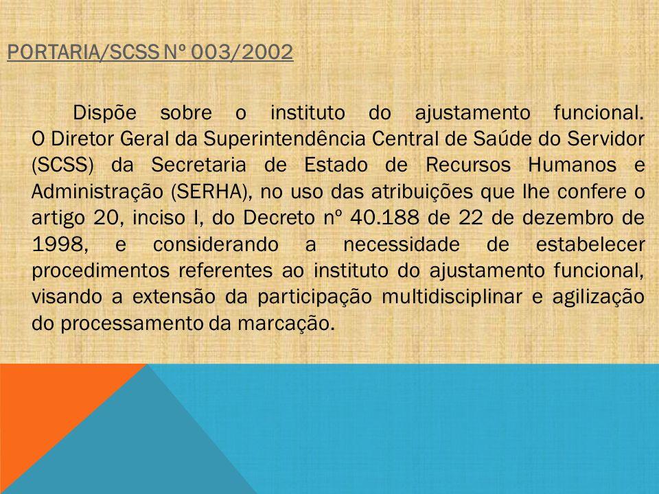 PORTARIA/SCSS Nº 003/2002 Dispõe sobre o instituto do ajustamento funcional.