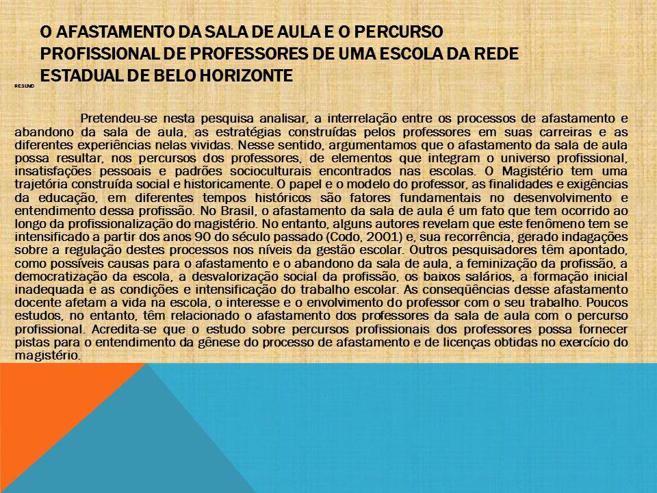 O AFASTAMENTO DA SALA DE AULA E O PERCURSO PROFISSIONAL DE PROFESSORES DE UMA ESCOLA DA REDE ESTADUAL DE BELO HORIZONTE