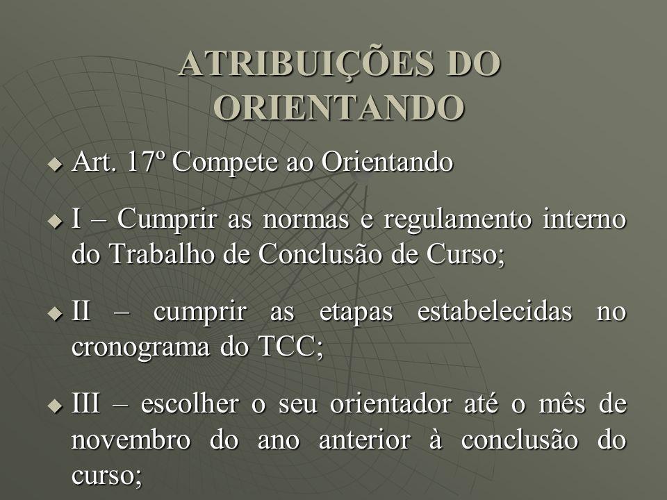 ATRIBUIÇÕES DO ORIENTANDO