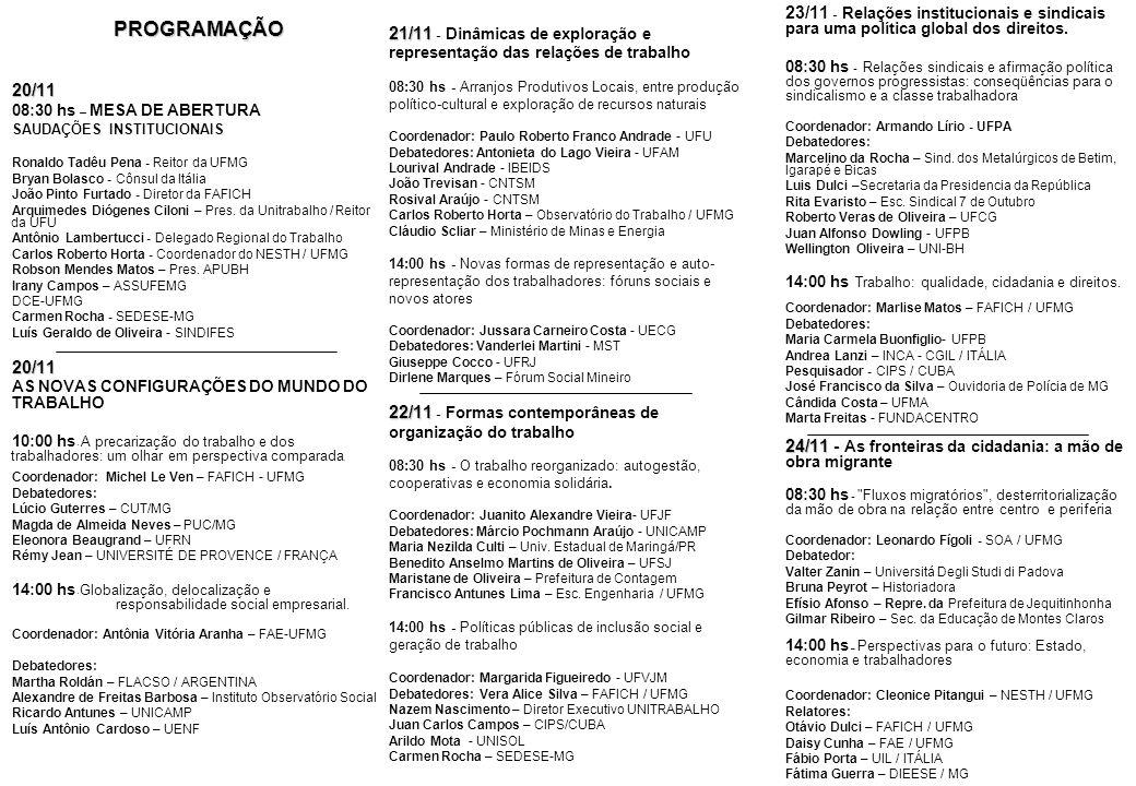PROGRAMAÇÃO 20/11. 08:30 hs – MESA DE ABERTURA. SAUDAÇÕES INSTITUCIONAIS. Ronaldo Tadêu Pena - Reitor da UFMG.