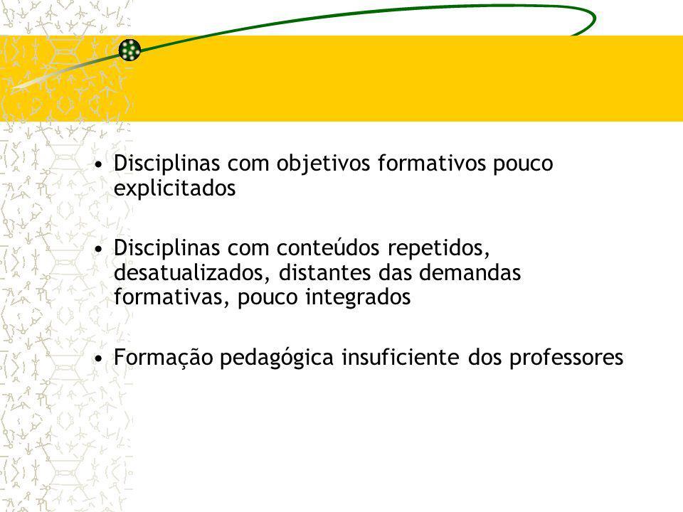 Disciplinas com objetivos formativos pouco explicitados