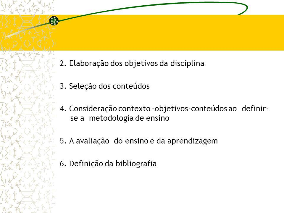 2. Elaboração dos objetivos da disciplina