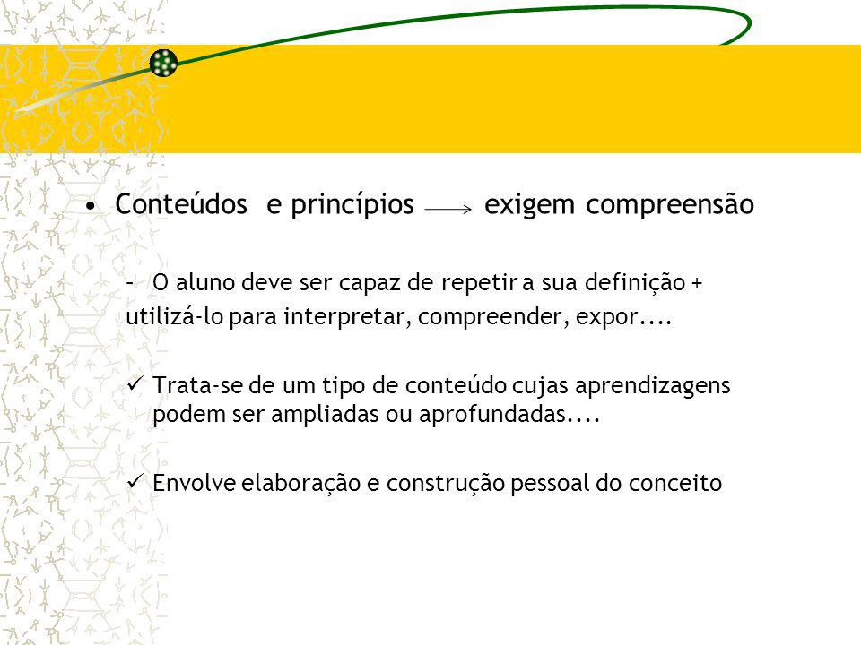 Conteúdos e princípios exigem compreensão