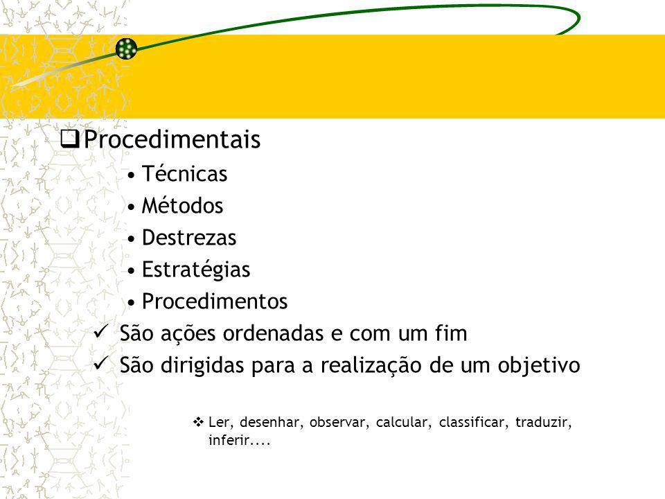 Procedimentais Técnicas Métodos Destrezas Estratégias Procedimentos