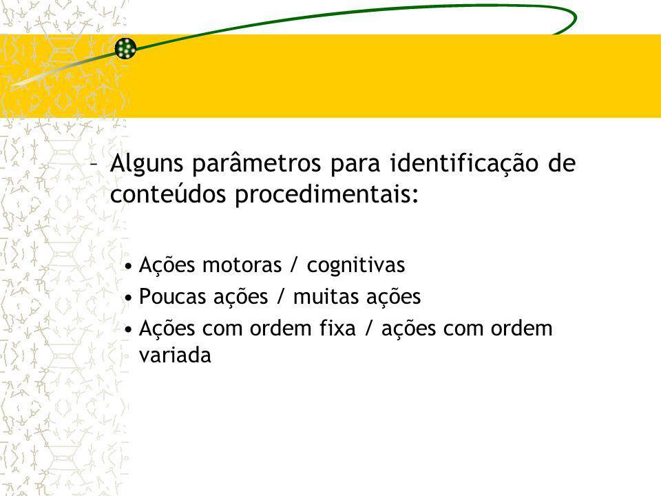 Alguns parâmetros para identificação de conteúdos procedimentais: