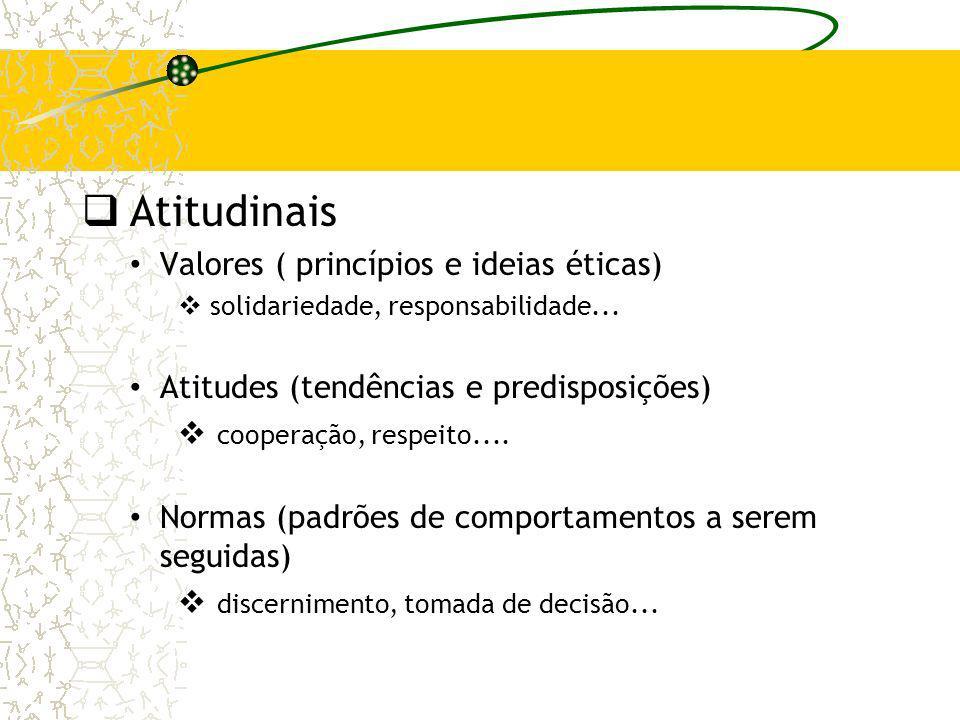 Atitudinais Valores ( princípios e ideias éticas)