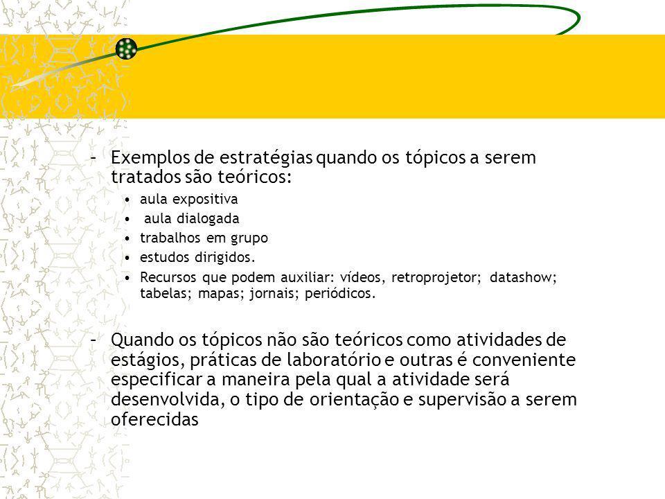 Exemplos de estratégias quando os tópicos a serem tratados são teóricos:
