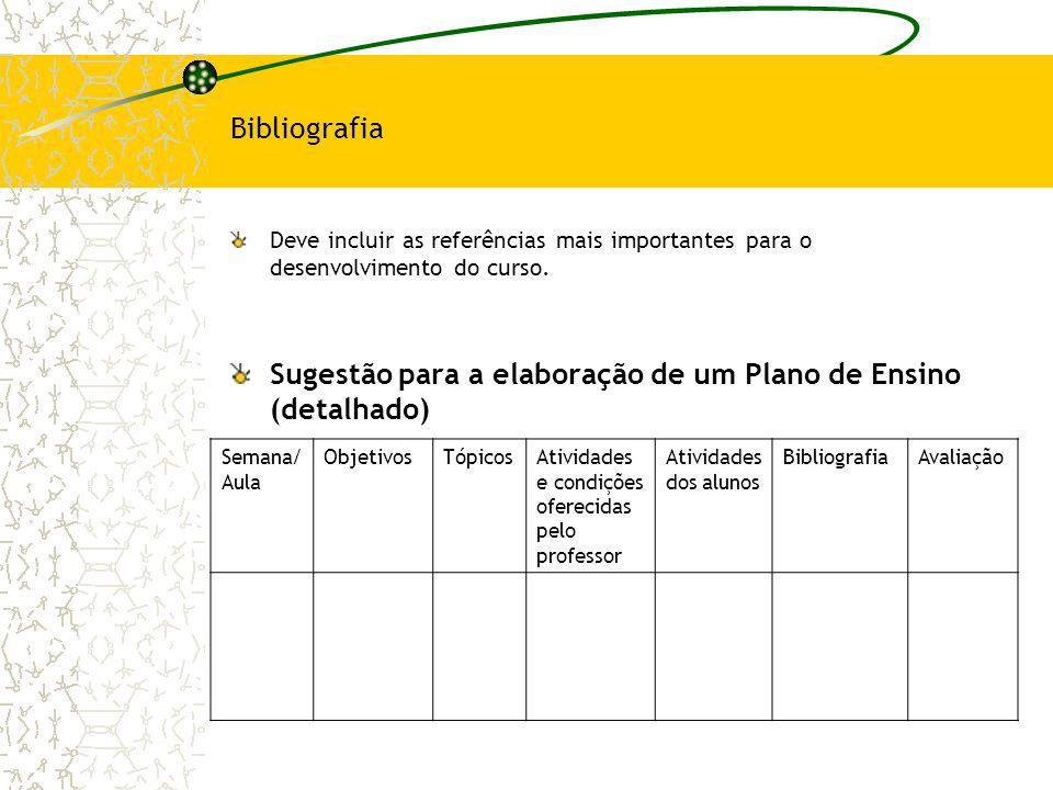 Sugestão para a elaboração de um Plano de Ensino (detalhado)