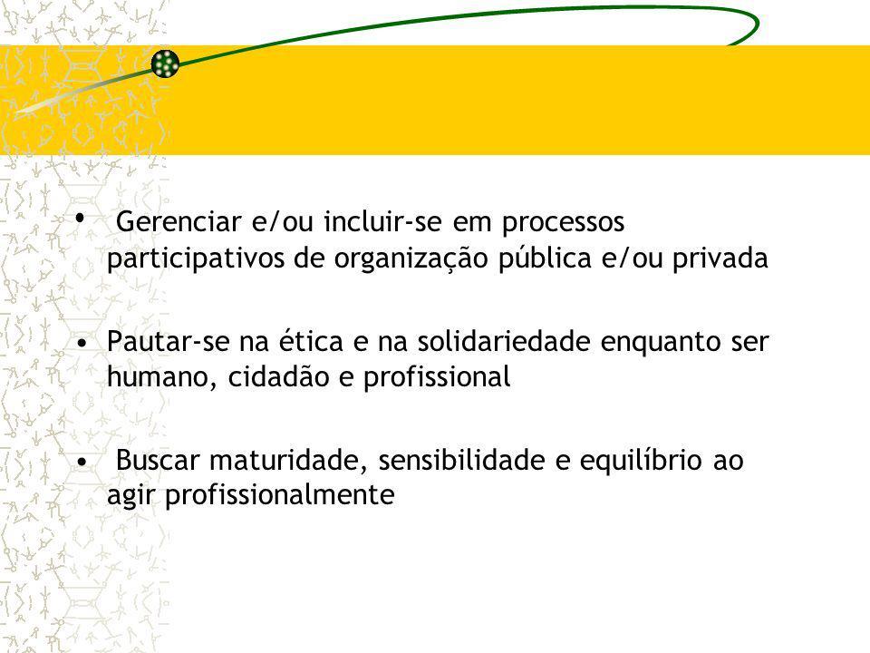 Gerenciar e/ou incluir-se em processos participativos de organização pública e/ou privada