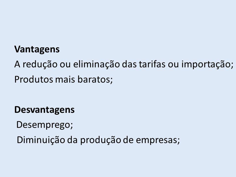 A redução ou eliminação das tarifas ou importação;