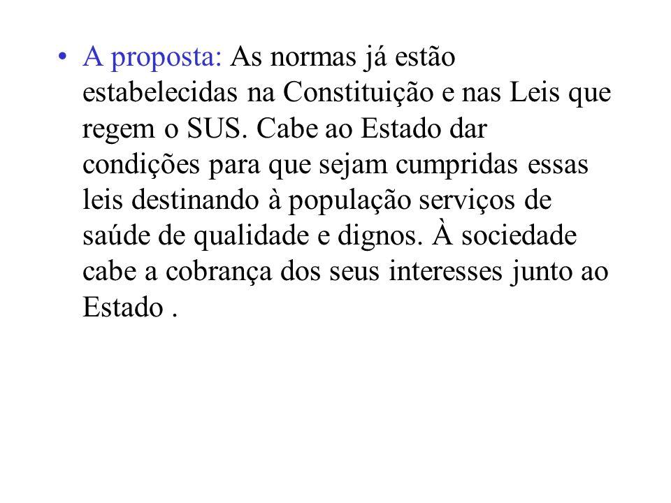 A proposta: As normas já estão estabelecidas na Constituição e nas Leis que regem o SUS.
