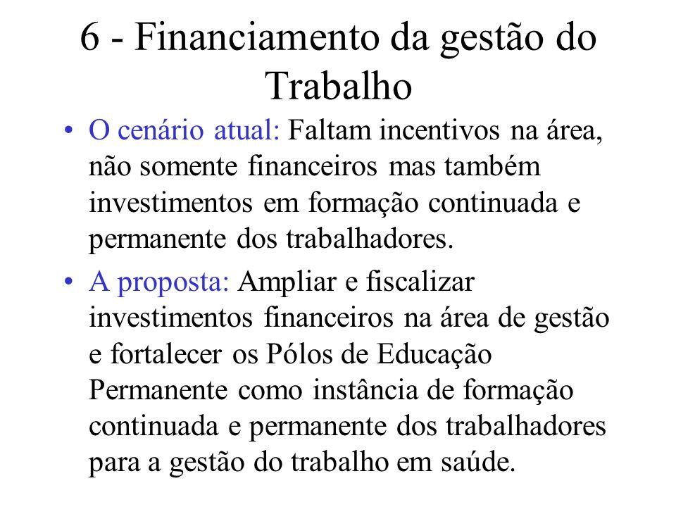 6 - Financiamento da gestão do Trabalho
