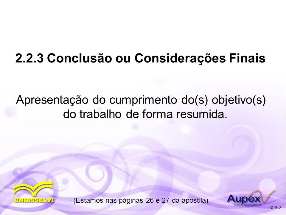 2.2.3 Conclusão ou Considerações Finais