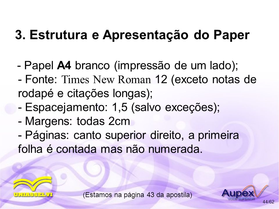 3. Estrutura e Apresentação do Paper
