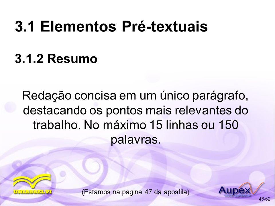 3.1 Elementos Pré-textuais 3.1.2 Resumo