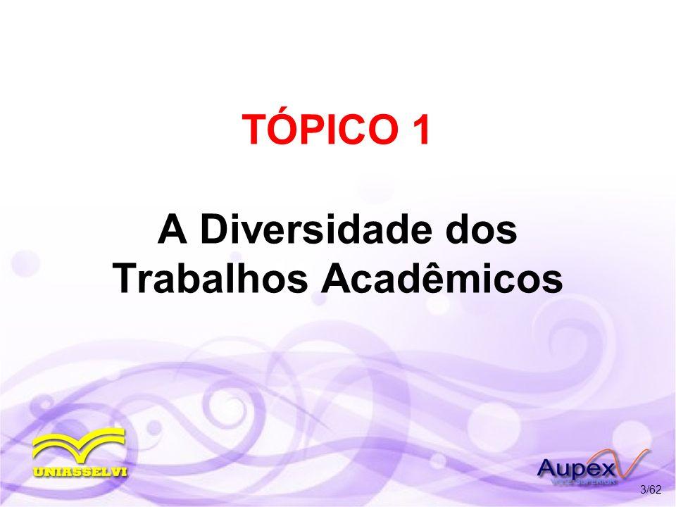 TÓPICO 1 A Diversidade dos Trabalhos Acadêmicos