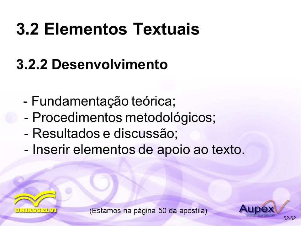 3.2 Elementos Textuais 3.2.2 Desenvolvimento