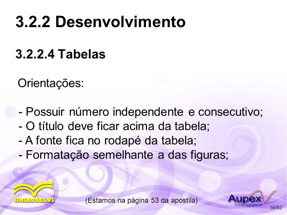 3.2.2 Desenvolvimento 3.2.2.4 Tabelas