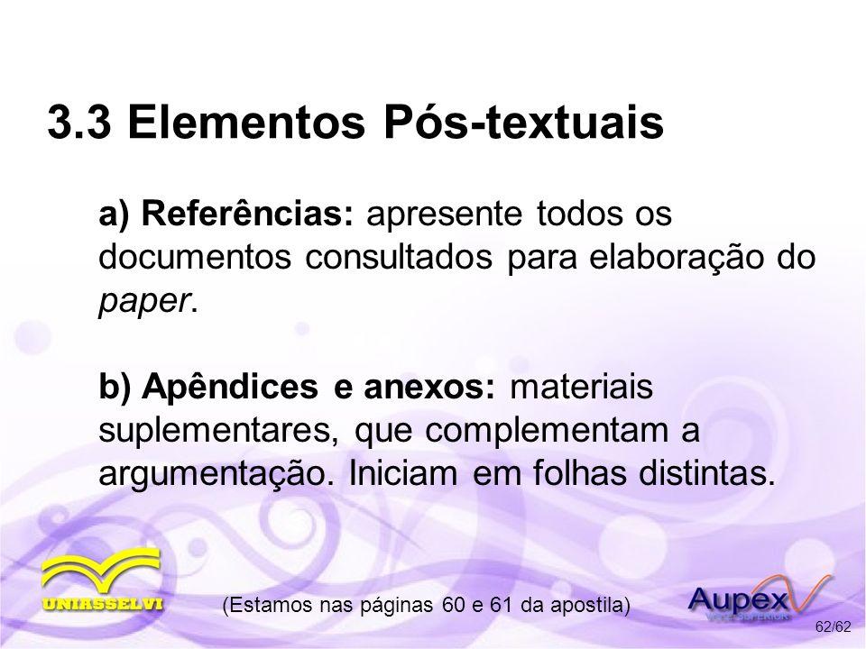 3.3 Elementos Pós-textuais