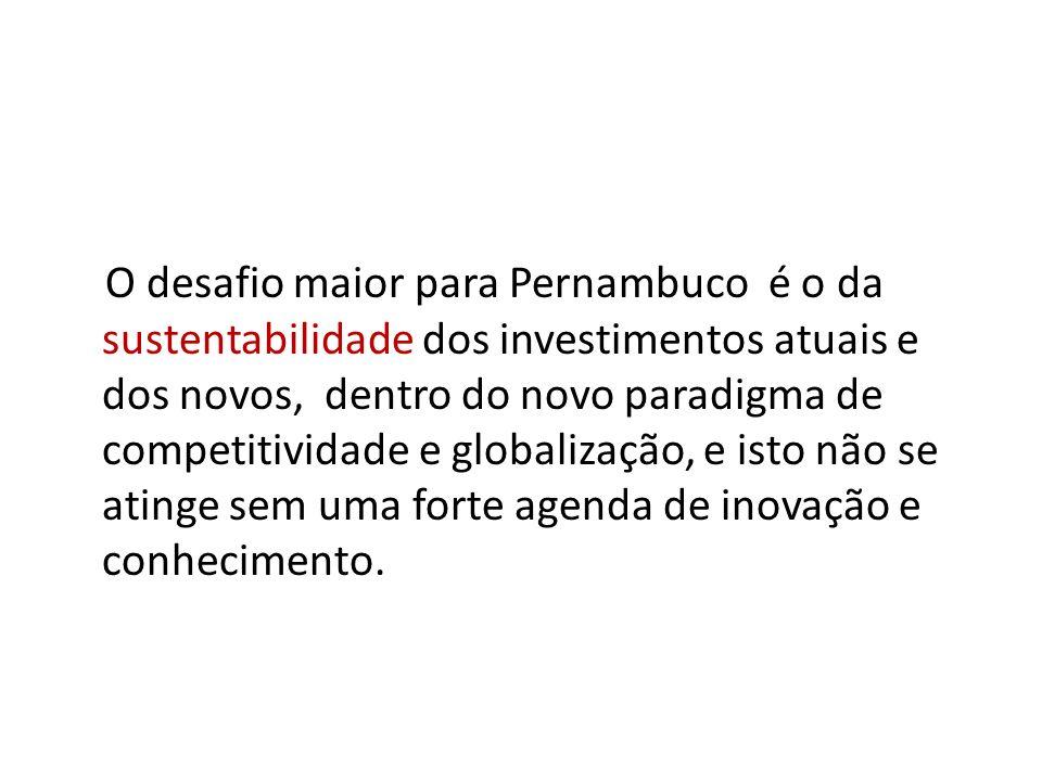 O desafio maior para Pernambuco é o da sustentabilidade dos investimentos atuais e dos novos, dentro do novo paradigma de competitividade e globalização, e isto não se atinge sem uma forte agenda de inovação e conhecimento.