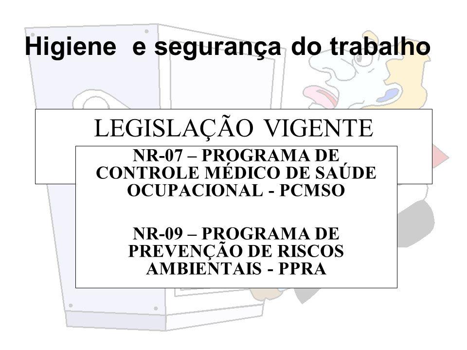 LEGISLAÇÃO VIGENTE NR-07 – PROGRAMA DE CONTROLE MÉDICO DE SAÚDE OCUPACIONAL - PCMSO.
