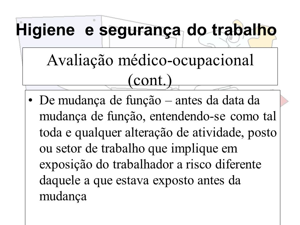 Avaliação médico-ocupacional (cont.)