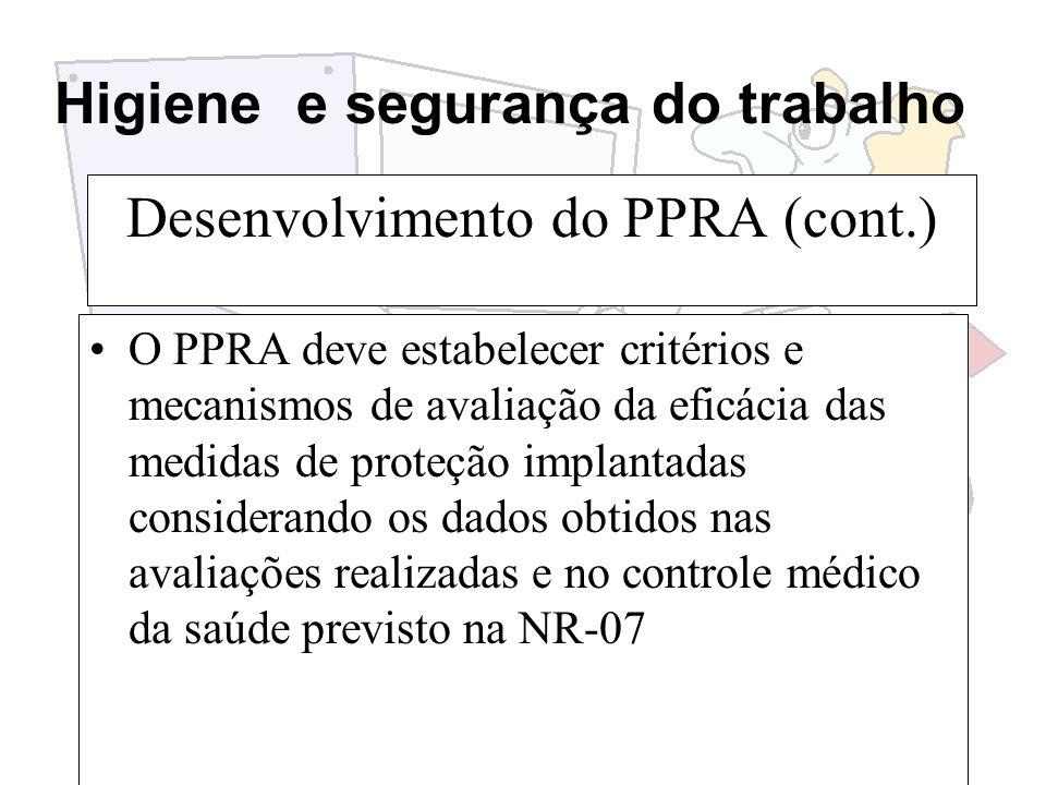 Desenvolvimento do PPRA (cont.)