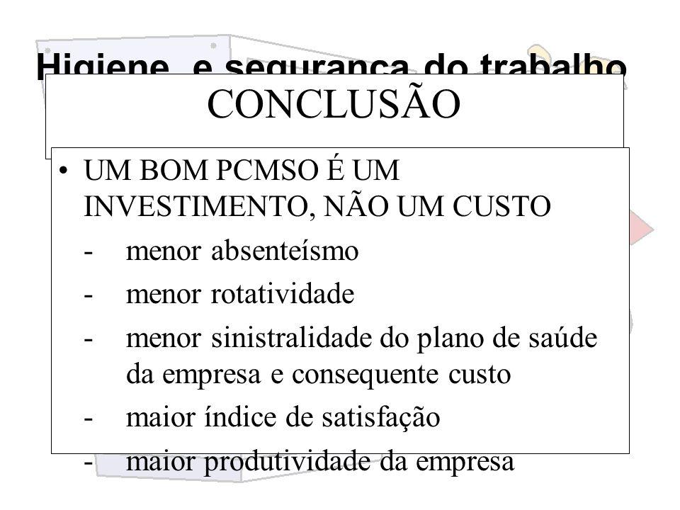 CONCLUSÃO UM BOM PCMSO É UM INVESTIMENTO, NÃO UM CUSTO