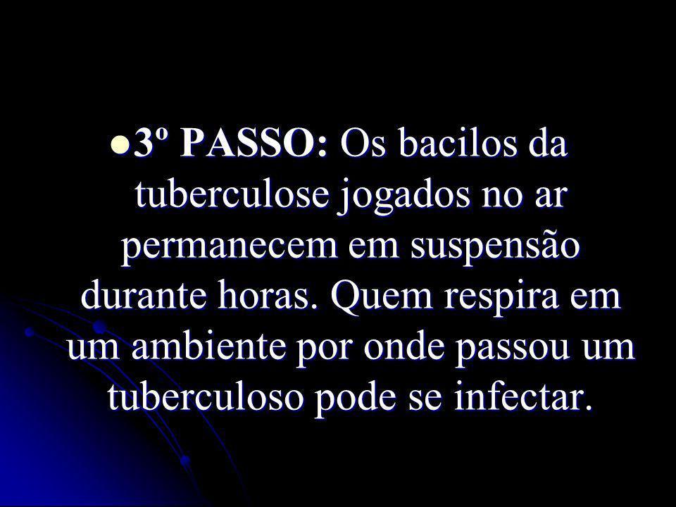 3º PASSO: Os bacilos da tuberculose jogados no ar permanecem em suspensão durante horas.