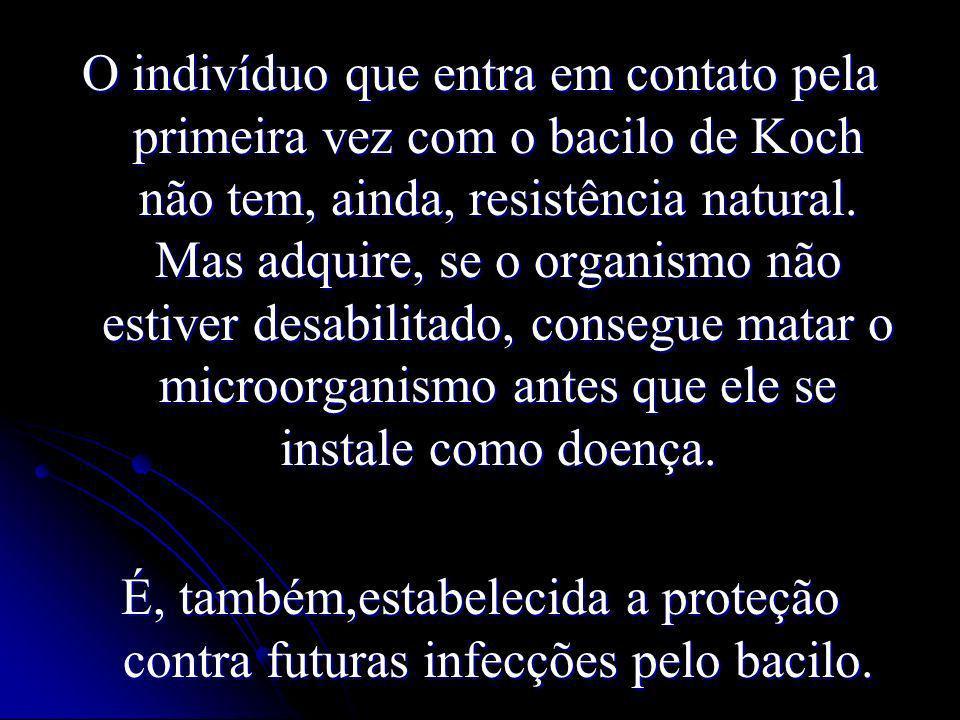 O indivíduo que entra em contato pela primeira vez com o bacilo de Koch não tem, ainda, resistência natural. Mas adquire, se o organismo não estiver desabilitado, consegue matar o microorganismo antes que ele se instale como doença.