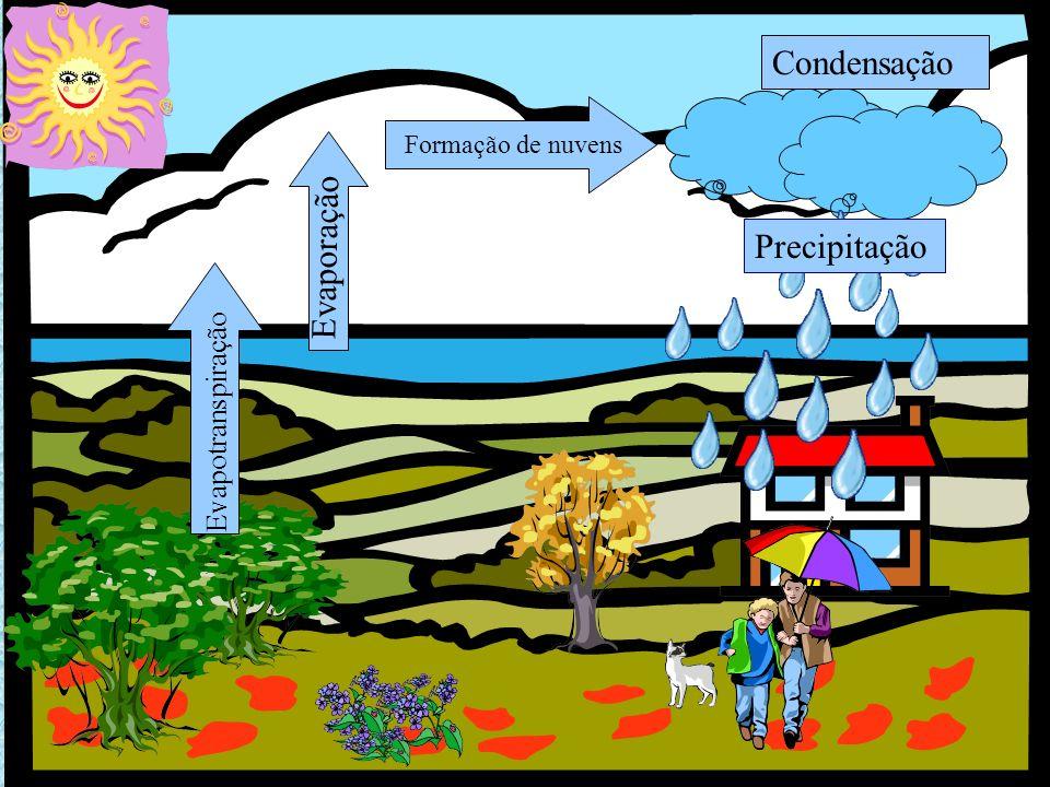 Condensação Evaporação Precipitação Evapotranspiração