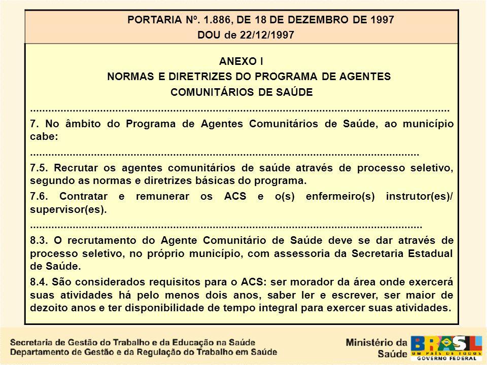 NORMAS E DIRETRIZES DO PROGRAMA DE AGENTES