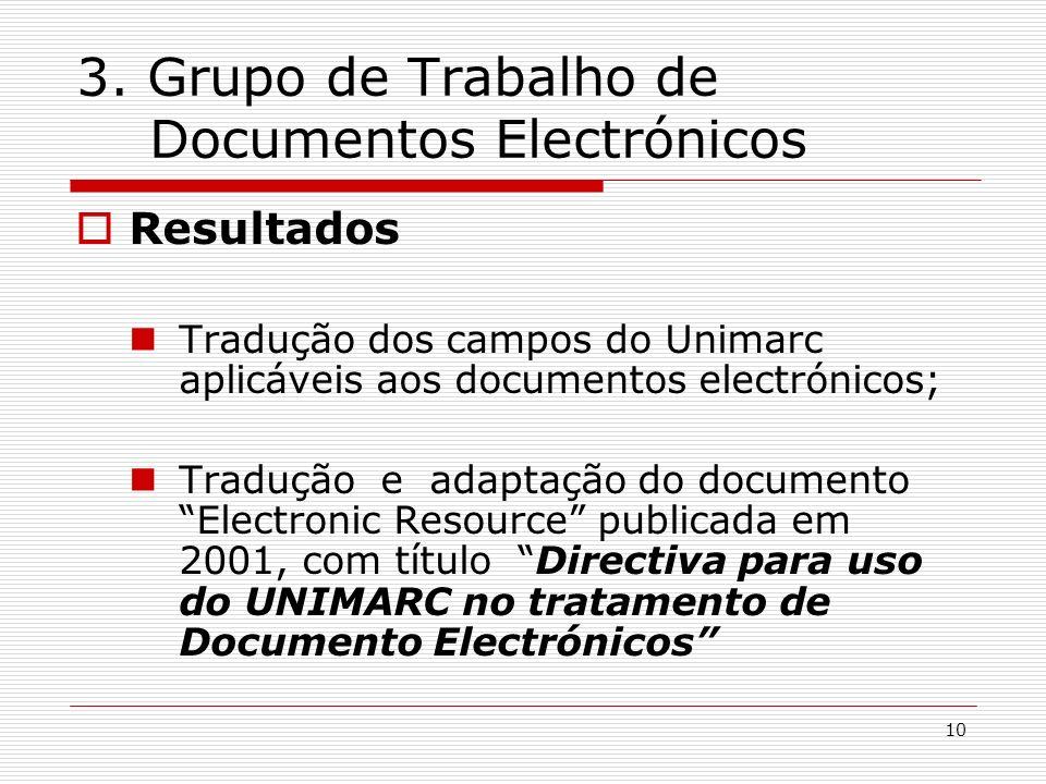 3. Grupo de Trabalho de Documentos Electrónicos