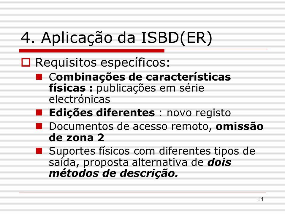 4. Aplicação da ISBD(ER) Requisitos específicos: