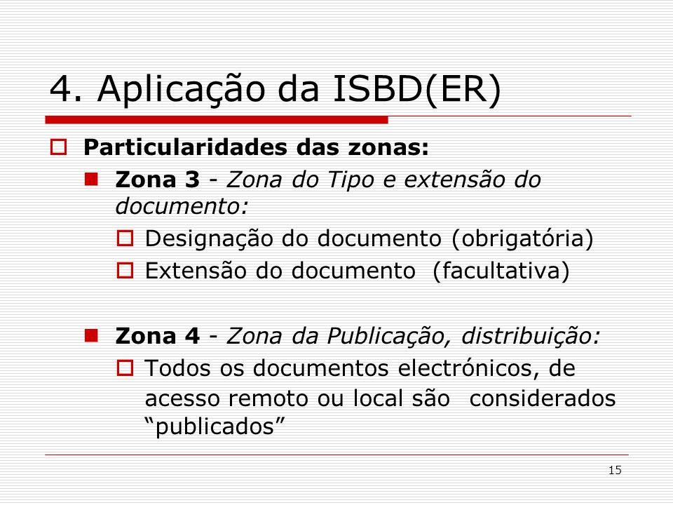 4. Aplicação da ISBD(ER) Particularidades das zonas: