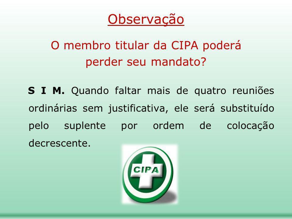 O membro titular da CIPA poderá