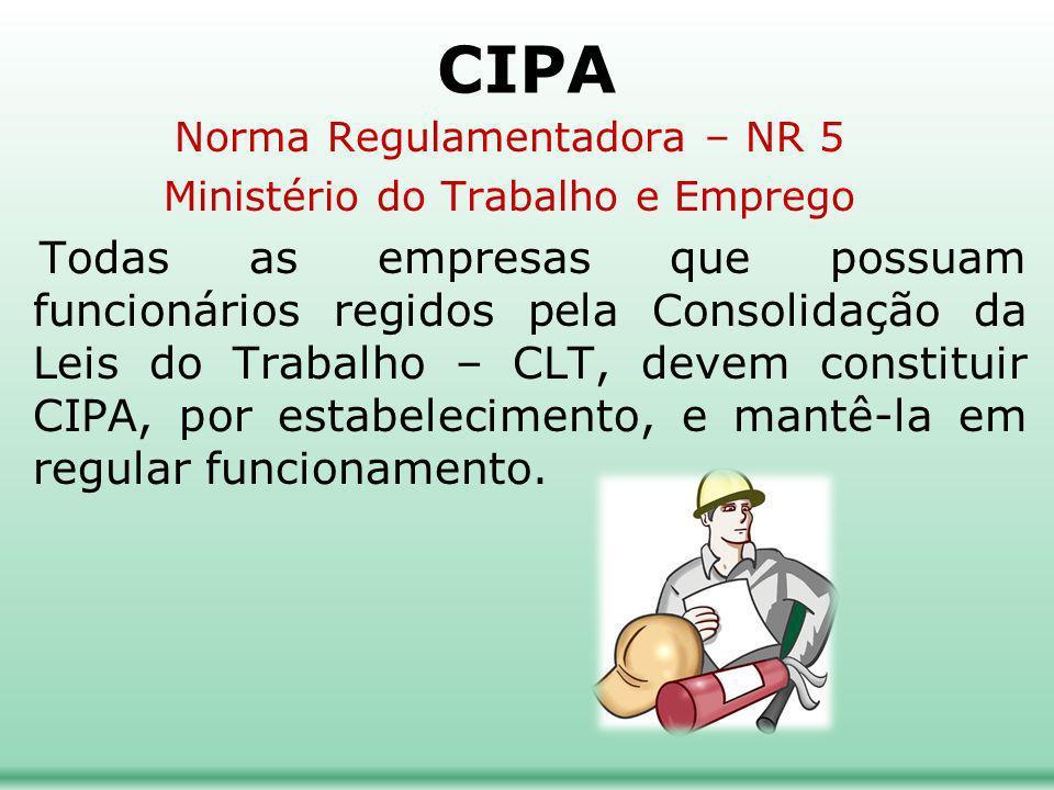 CIPA Norma Regulamentadora – NR 5. Ministério do Trabalho e Emprego.