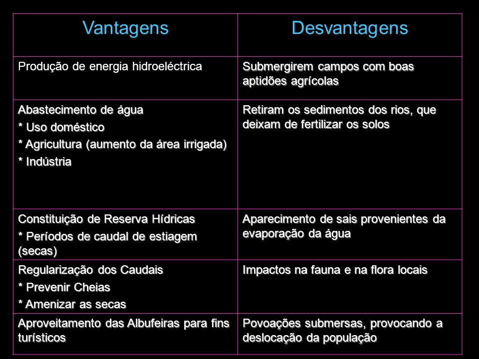 Vantagens Desvantagens Produção de energia hidroeléctrica