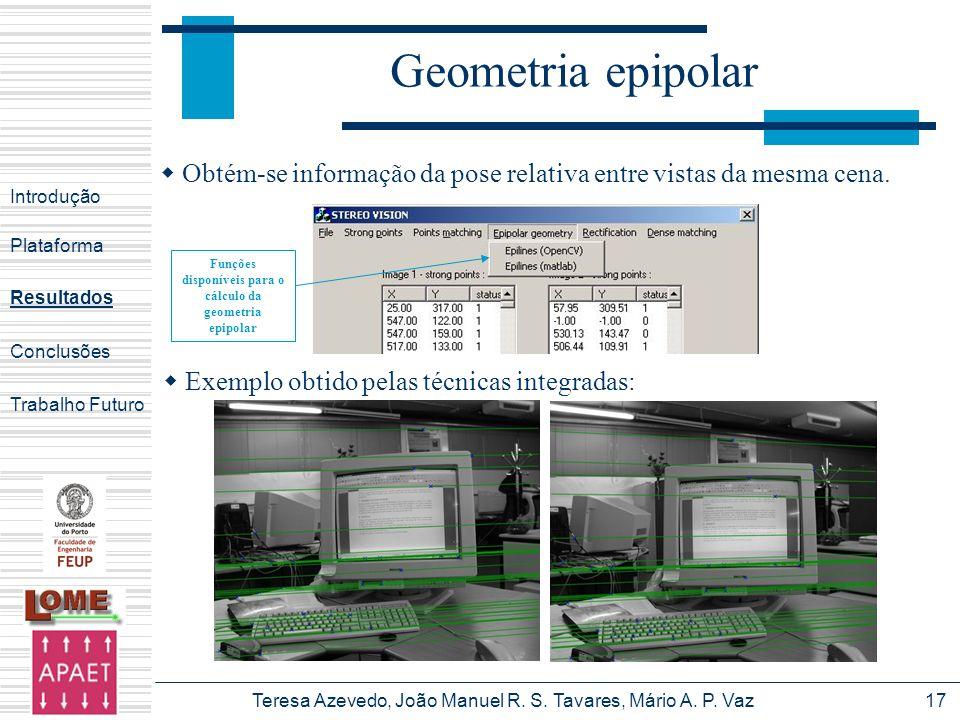 Funções disponíveis para o cálculo da geometria epipolar