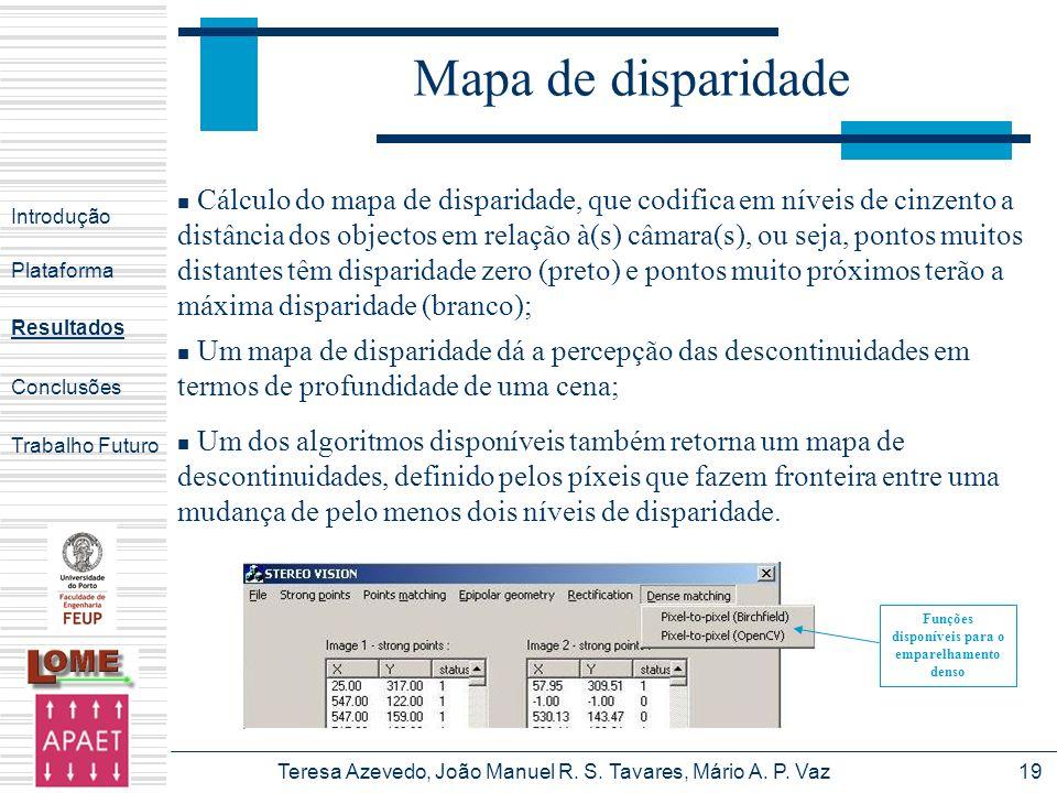 Funções disponíveis para o emparelhamento denso