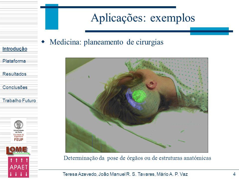 Aplicações: exemplos Medicina: planeamento de cirurgias
