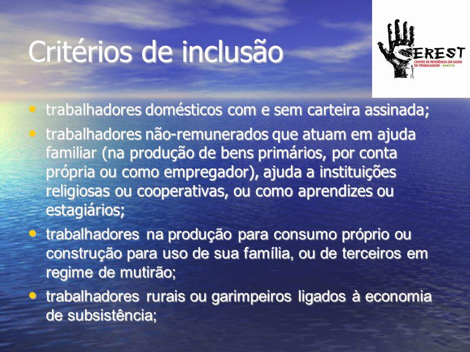 Critérios de inclusão trabalhadores domésticos com e sem carteira assinada;